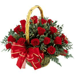 Beautiful 24 red roses Basket
