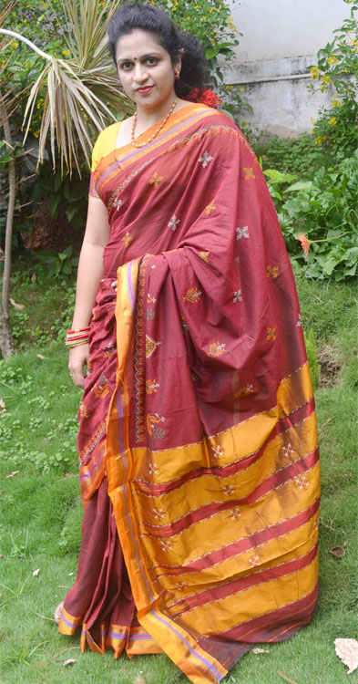 Maroon Color Cotton Saree with Yellow Border