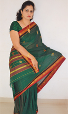 Green Cotton Saree with Dry fruits