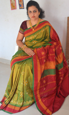 Parrot Green Color Silk Saree with Red Border and Thakur pedha
