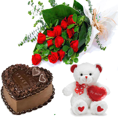 send heartshape cake and red roses bunch